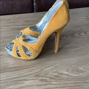 naughty monkey Shoes - Naughtily monkey suede yellow studded pumps